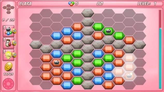 Screenshot of the game boob rescue. A puzzle game with crystals.