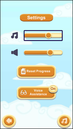 Screenshot from Unity showing a Menu screen with a number of buttons and sliders.