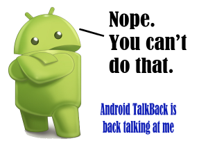 Android Logo standing with crossed arms, looking at me with crossed arms, telling me I can't do what I am trying.