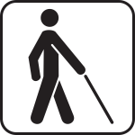 Blind Man Walking with a stick