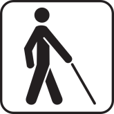 Blind man with a white cane