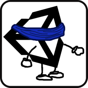 Unity Logo wearing a blindfold, hands reaching out carefully to feel around.