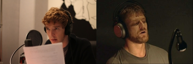 Actors Benedict Cumberbatch and Sean Bean inside a voice recording studio. They look cute.