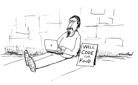 "A homeless man sitting on the street begging - next to a sign that reads: ""will code for food""."
