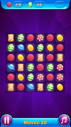 Screenshot of the puzzle game, showing a grid of different colored gems.