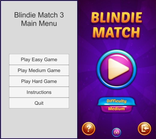 The left picture shows the game's main menu with a light gray background and rectangular white buttons. The right picture shows the main menu with a strong purple background, and colorful round buttons in different sizes.