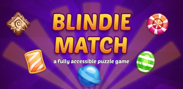 Banner for Blindie Match Puzzle Game showing a few of the gems and the subtitle 'a fully accessible puzzle game'.