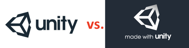 On the left side is the logo of the Unity Editor, on the opposite side is the Made-With-Unity splash screen that is displayed when starting games created with Unity. They look almost identical.