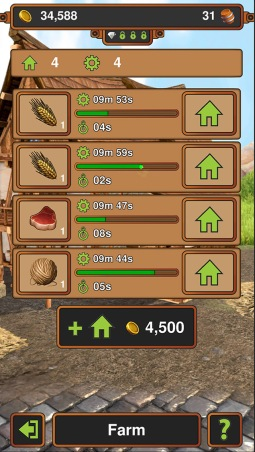 Game screen showing the farm. It has four work stations, which are busy producing grain, meat and wool.