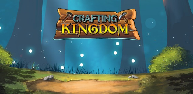 A forest backdrop with the words 'Crafting Kingdom' written in front. A hammer and a pickaxe hover on either side of the text.