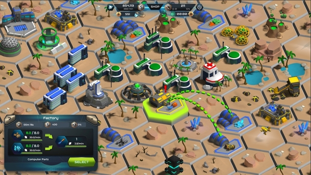 an ingame screenshot of the game showing a desert planet surface with many houses, farms, storage and mining buildings.