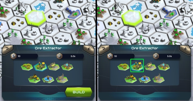 Side by side comparison of the construction menu in Galactic Colonies.